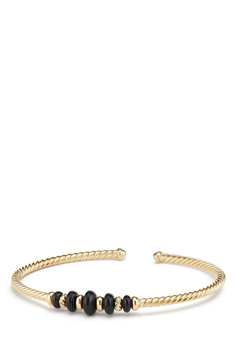 DAVID YURMAN Rio Rondelle 18K Gold Cabled Cuff Bracelet, Main, color, GOLD/ BLACK ONYX