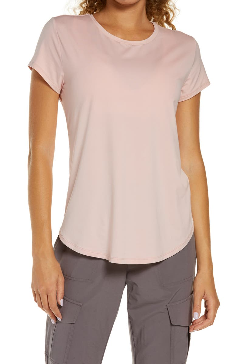 ZELLA Strength Performance T-Shirt, Main, color, PINK SILVER