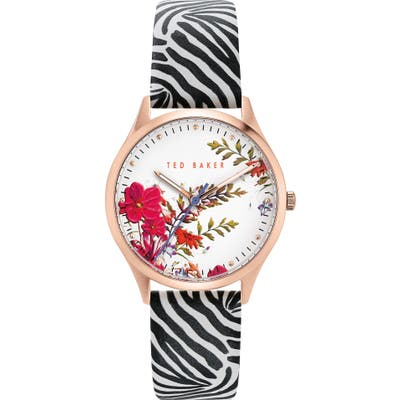 Ted Baker London Belgravia Leather Strap Watch,