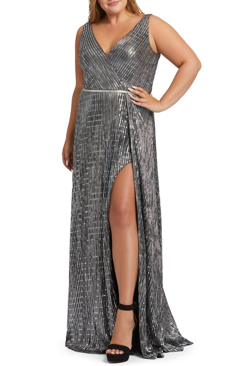 MAC DUGGAL Metallic Wrap Prom Dress, Main, color, SILVER