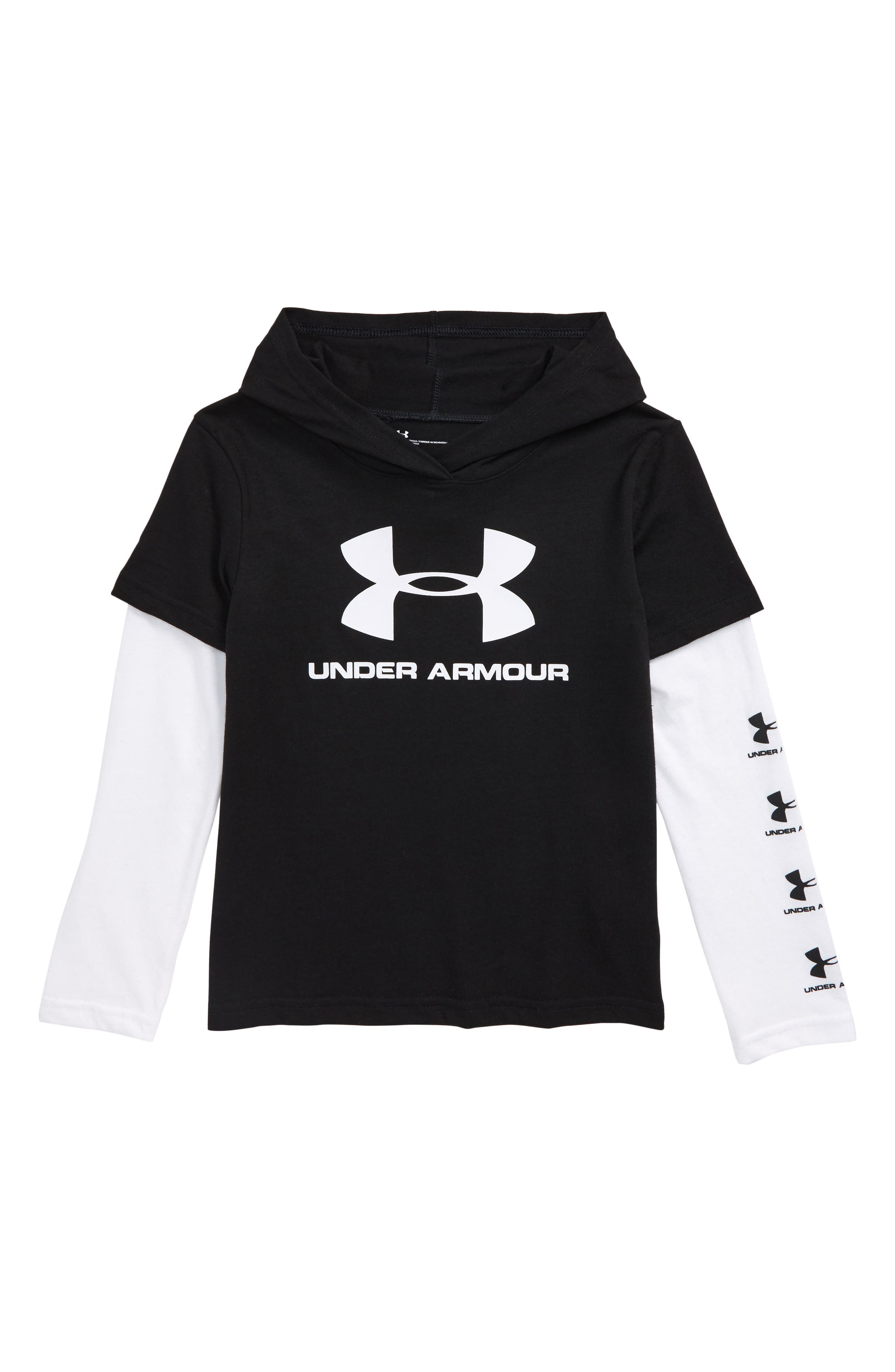 Toddler Boys Under Armour Repeat Hooded Slider Shirt Size 3T  Black