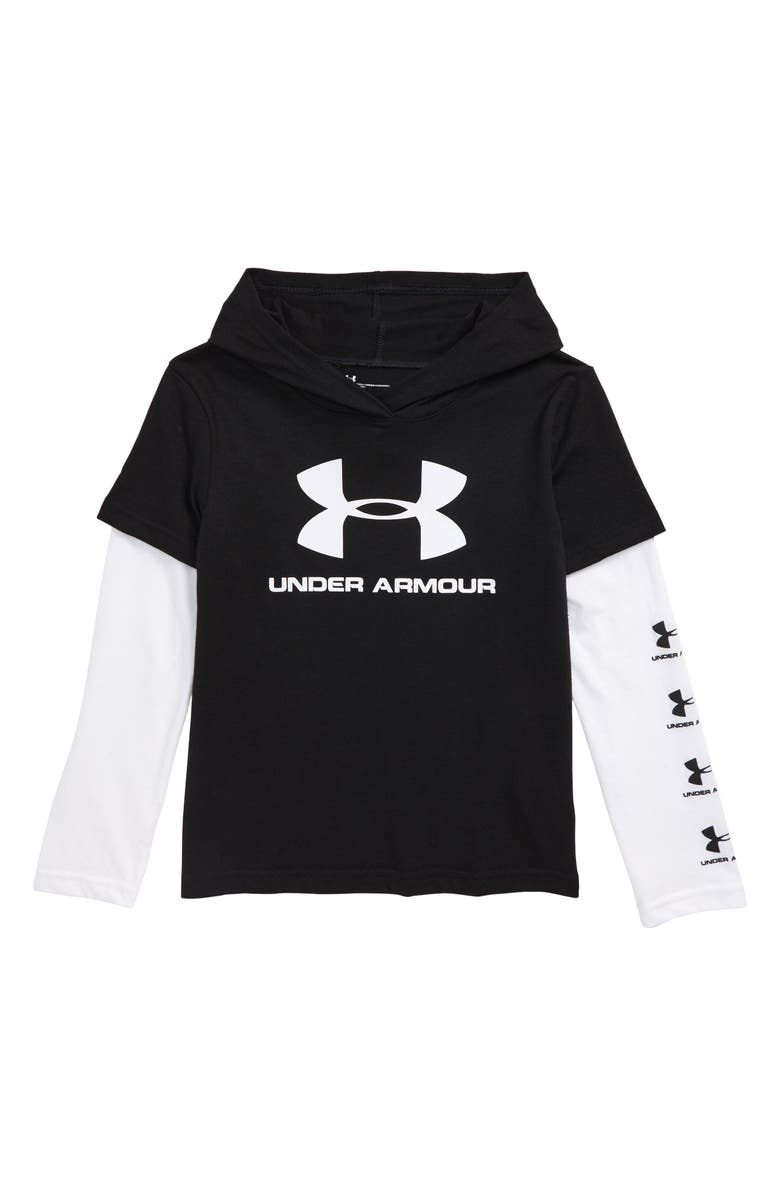 UNDER ARMOUR Repeat Hooded Slider Shirt, Main, color, 001