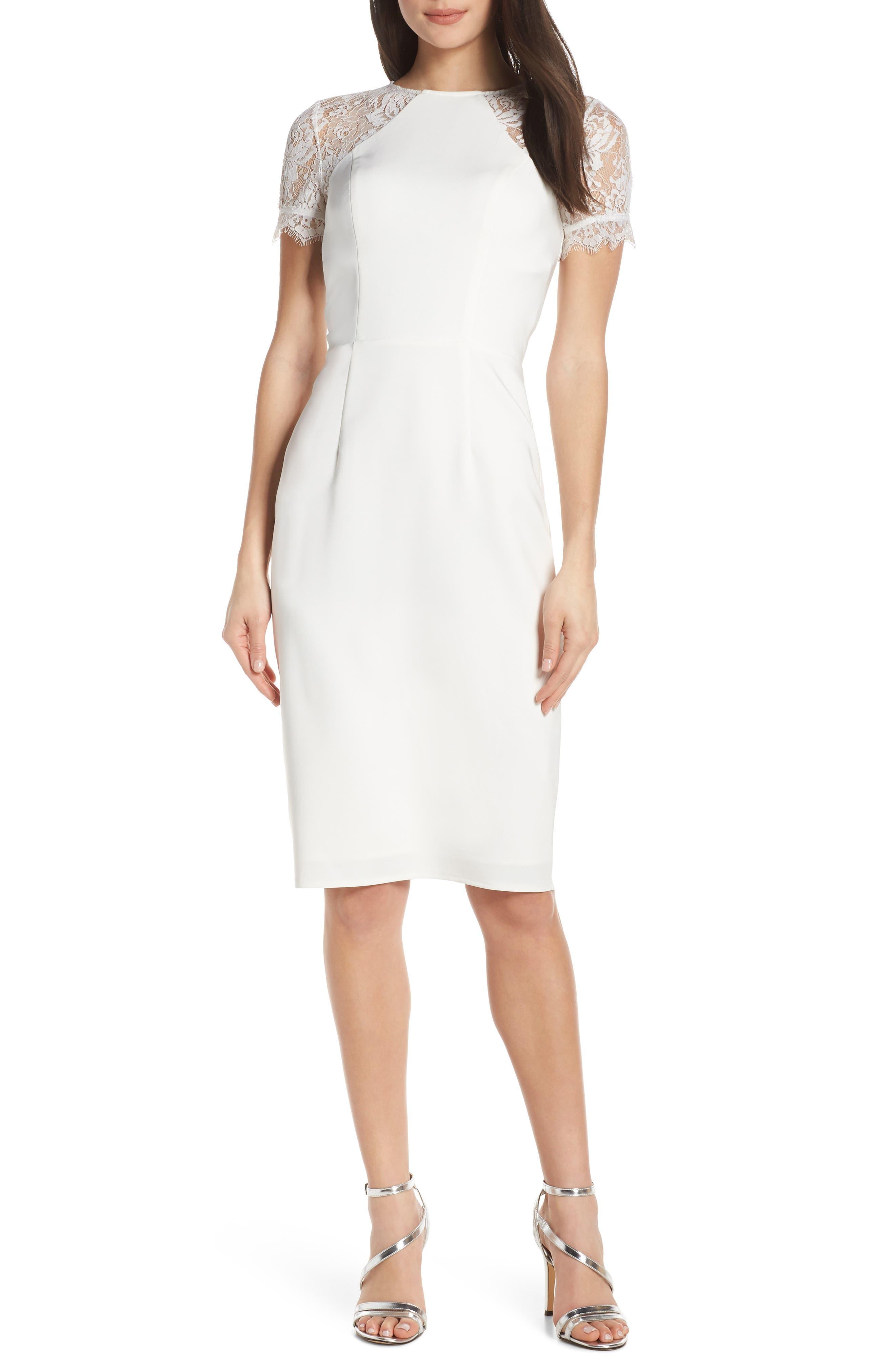 Chi Chi London Madison Lace Inset Cocktail Dress, White