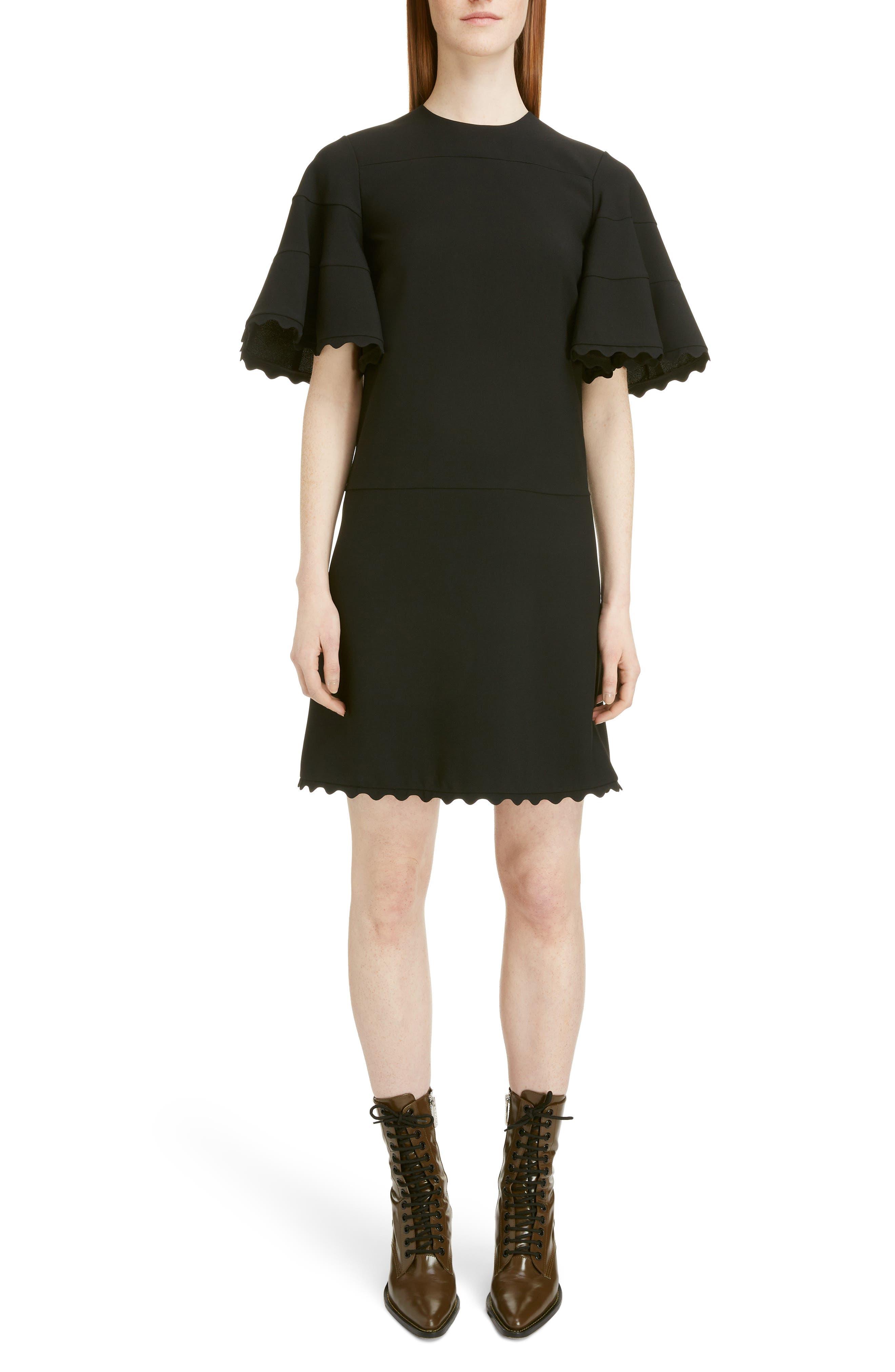 Image of Chloe Scallop Bell Sleeve Mini Dress