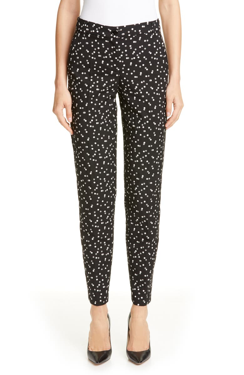 EMPORIO ARMANI Polka Dot Jacquard Pants, Main, color, BLACK/ WHITE