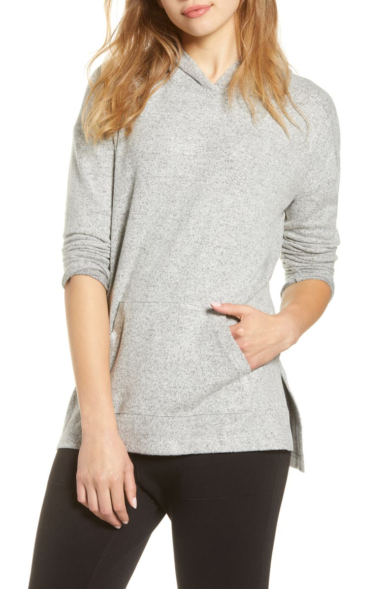 LOU & GREY Brushed Hooded Pullover, Main, color, GREY MARL