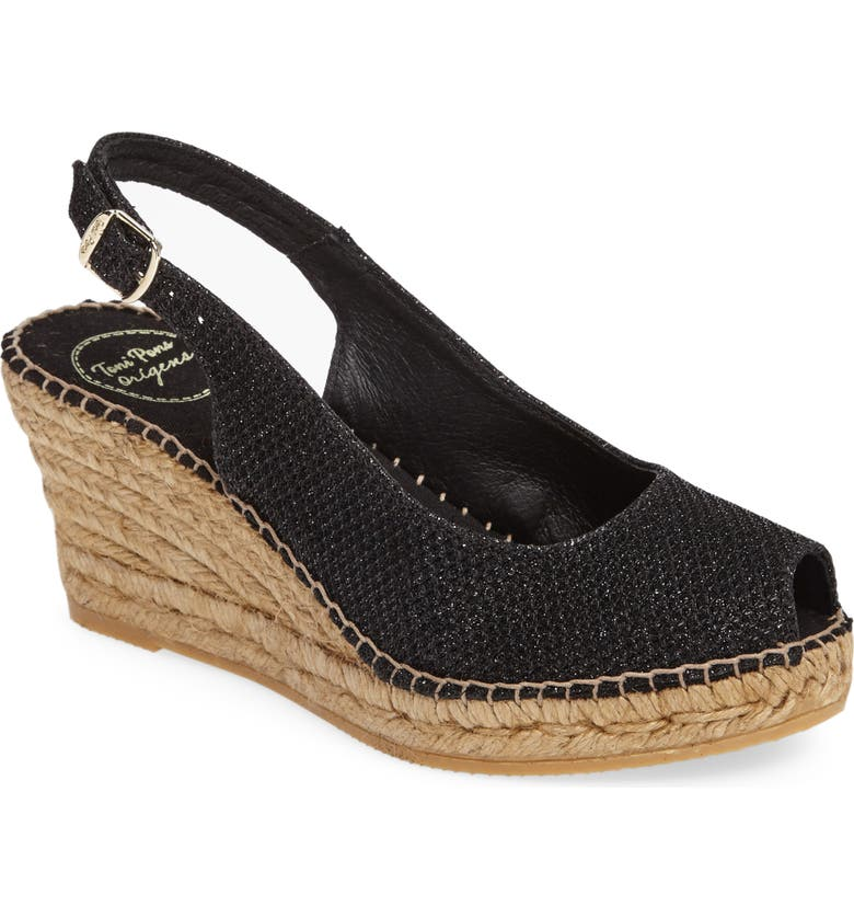 TONI PONS Calafell Slingback Wedge Espadrille, Main, color, BLACK FABRIC