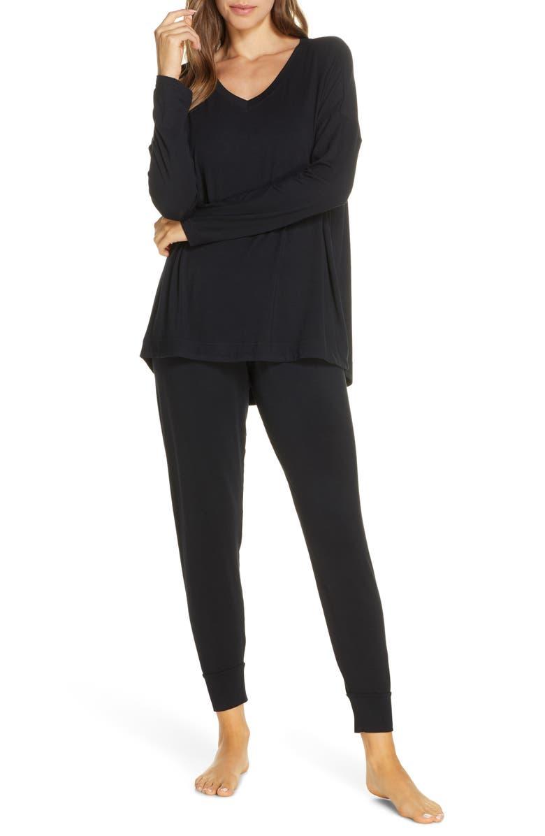 NORDSTROM Moonlight Pajamas, Main, color, BLACK
