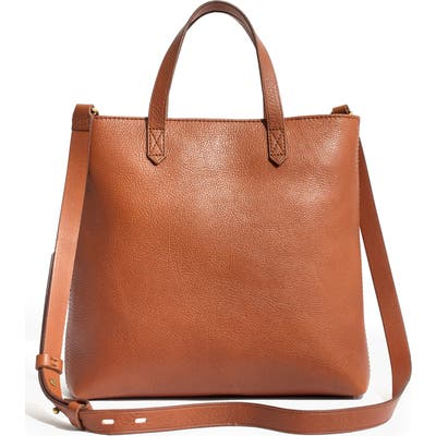 Madewell Small Transport Leather Crossbody Tote - Brown