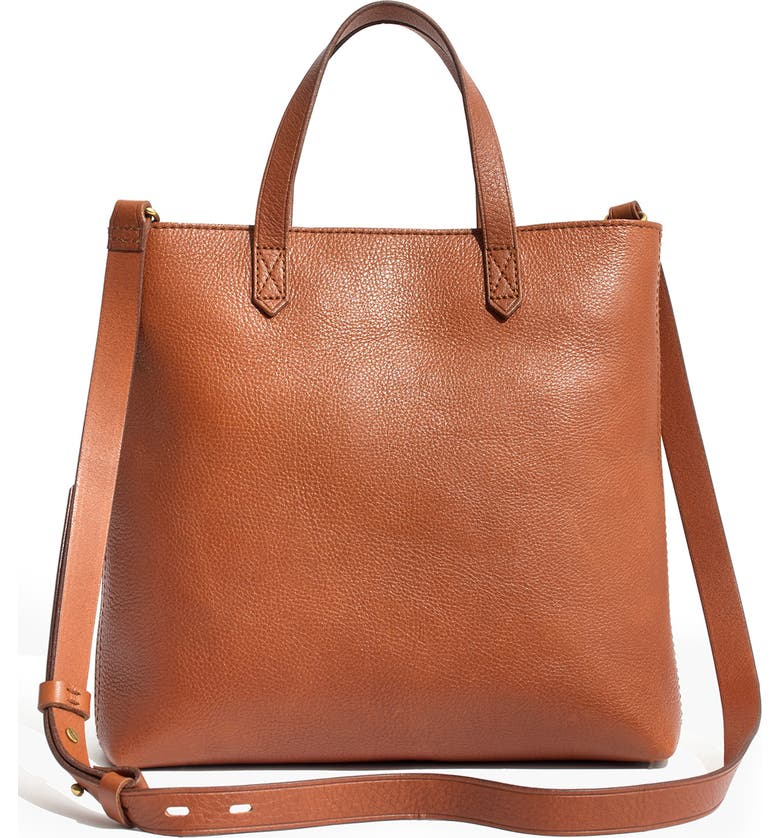 MADEWELL Small Transport Leather Crossbody Tote, Main, color, ENGLISH SADDLE