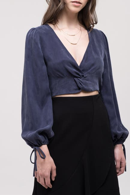 Image of J.O.A. Silk Blend Knot Cropped Blouse