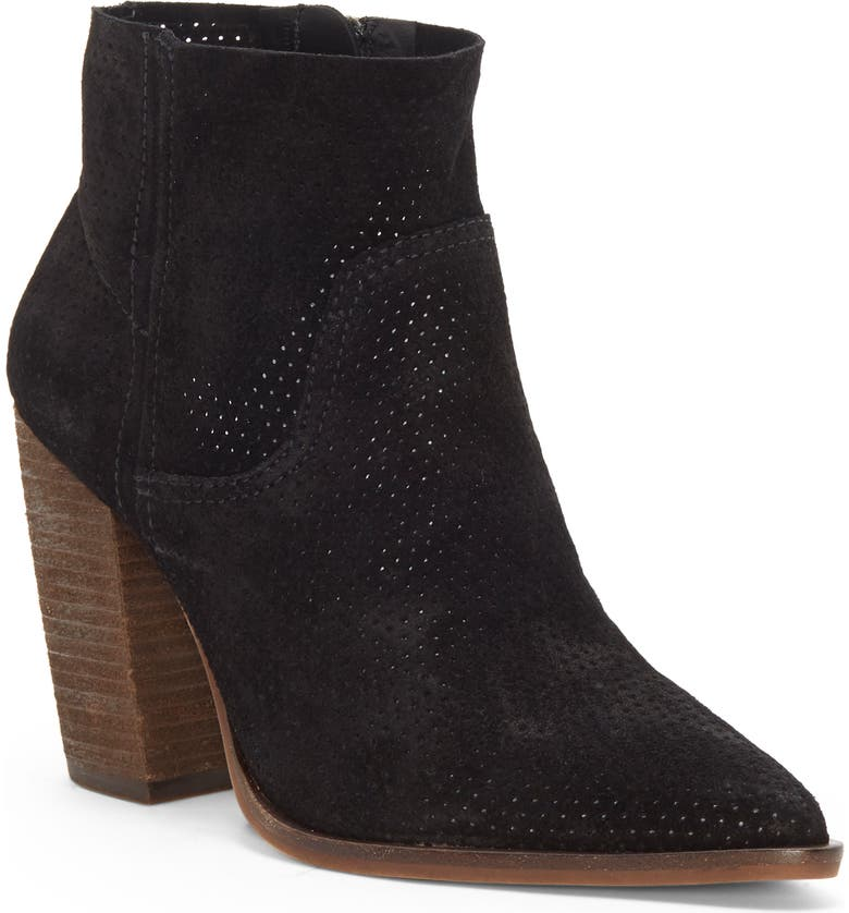 VINCE CAMUTO Cava Perforated Pointy Toe Boot, Main, color, BLACK SUEDE