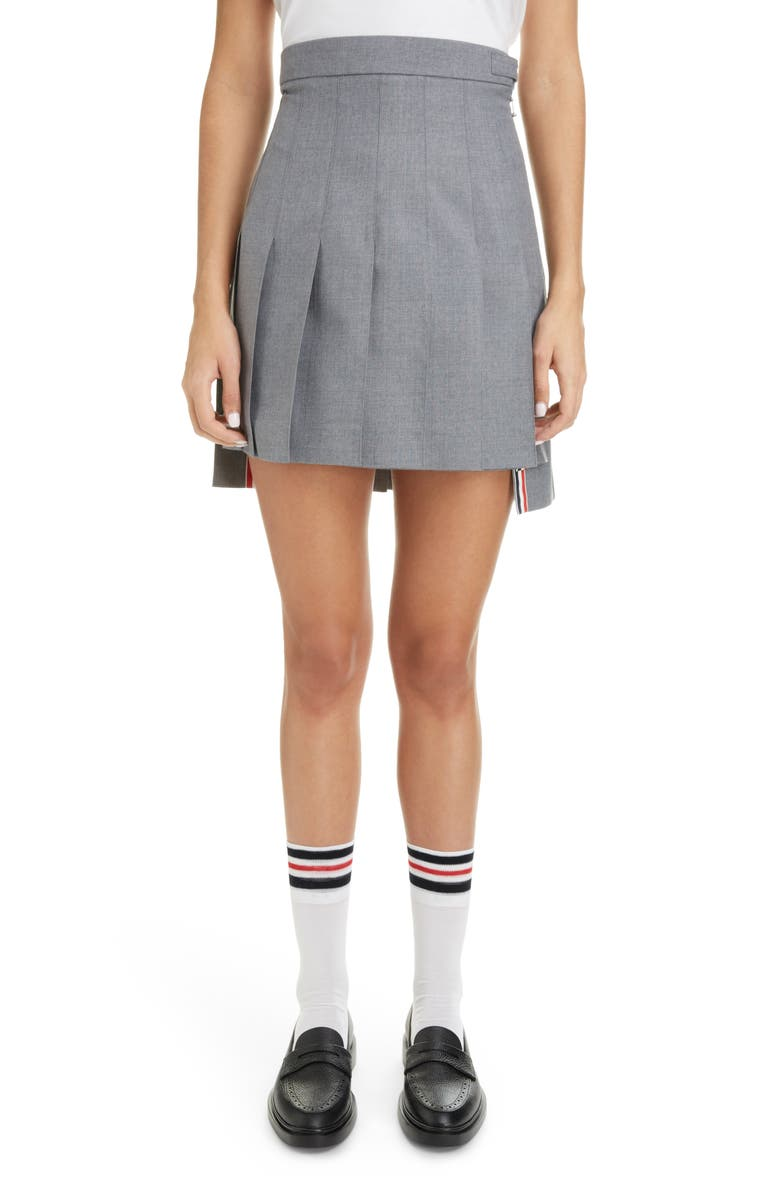 THOM BROWNE Step Hem Pleated Wool Blend Miniskirt, Main, color, MED GREY