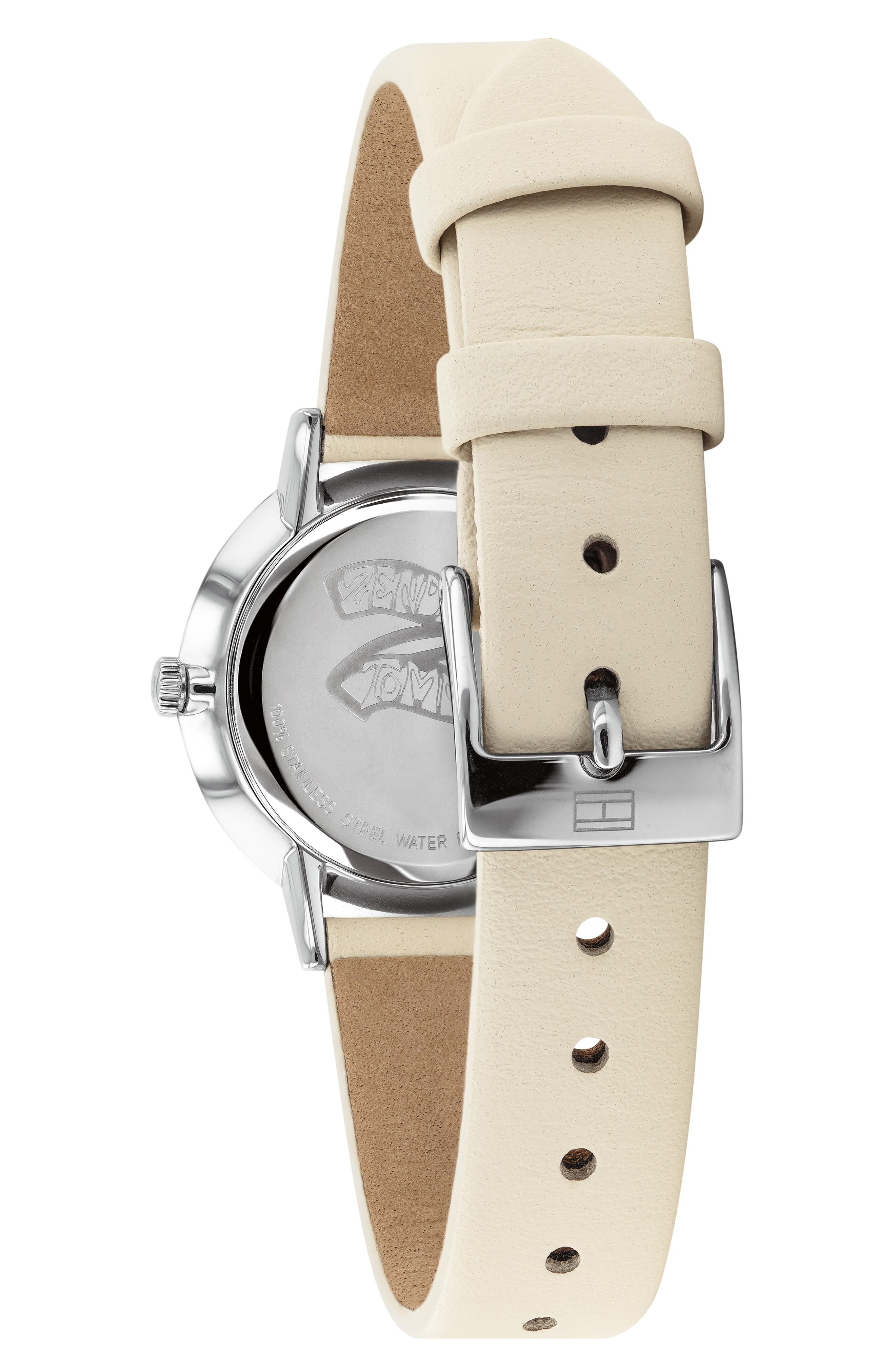 ,                             x Zendaya Leather Strap Watch, 28mm,                             Alternate thumbnail 2, color,                             BEIGE/ WHITE/ GOLD