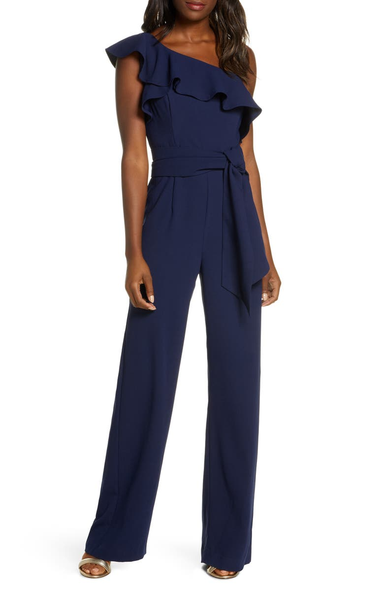 LILLY PULITZER<SUP>®</SUP> Lyra Ruffle One-Shoulder Jumpsuit, Main, color, TRUE NAVY