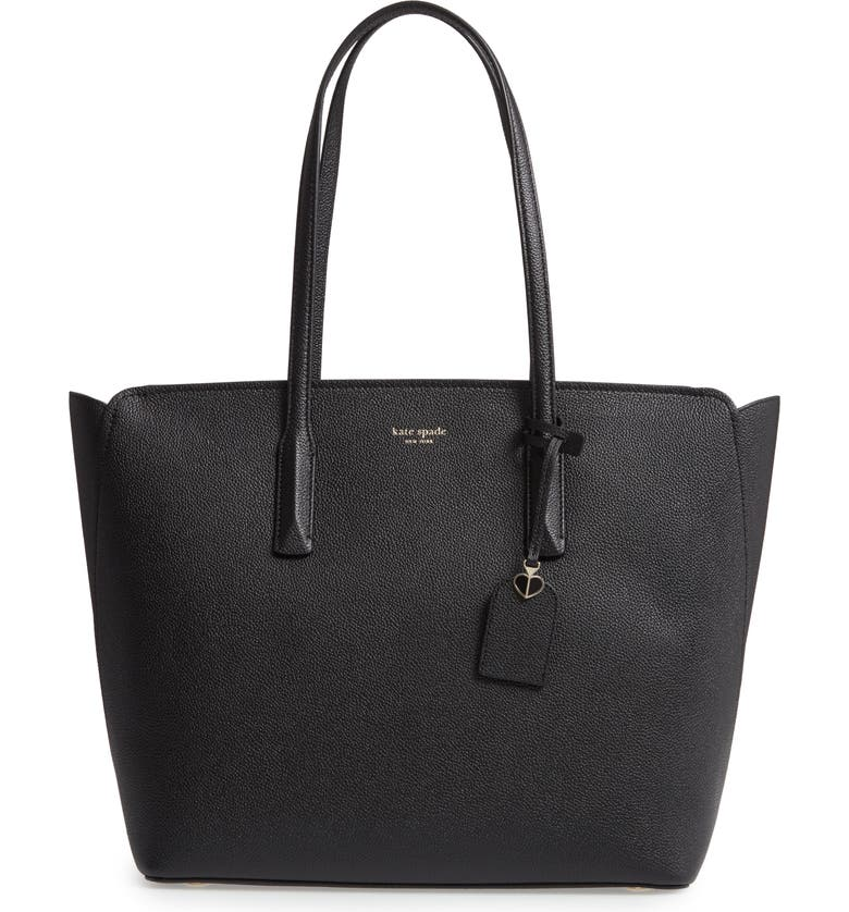 KATE SPADE NEW YORK large margaux leather tote, Main, color, 001