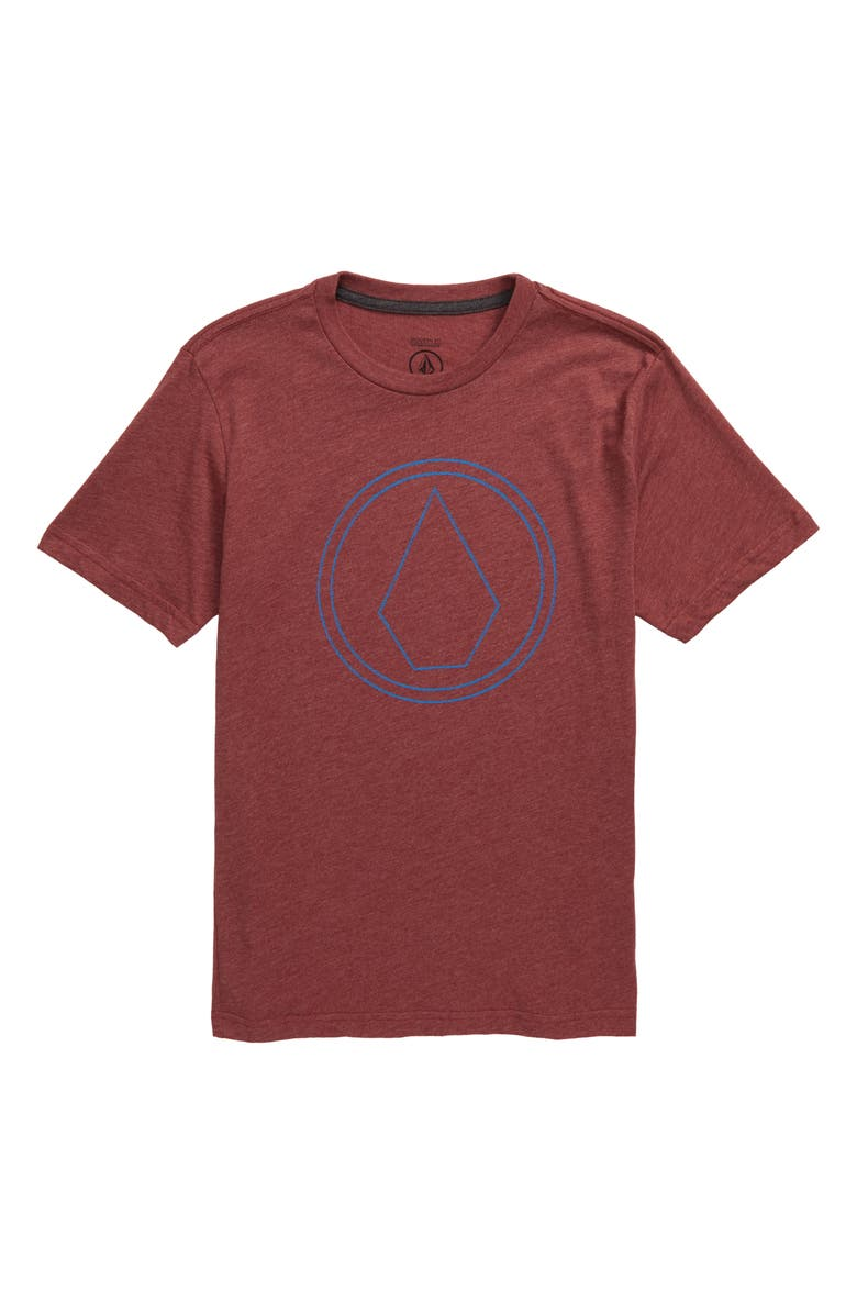 VOLCOM Pin Stone Graphic T-Shirt, Main, color, CRIMSON