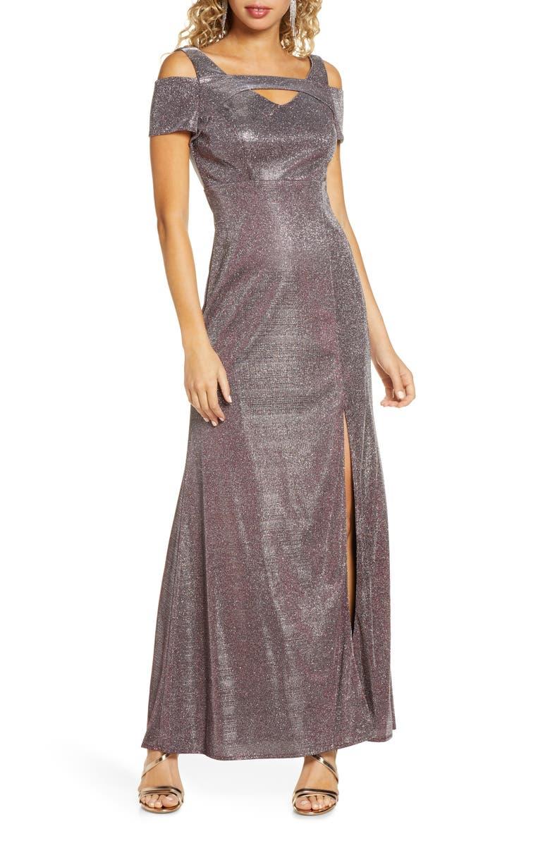 MORGAN & CO. Cold Shoulder Shimmer Gown, Main, color, 001
