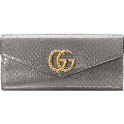 Gucci Broadway Genuine Snakeskin Evening Clutch - Grey