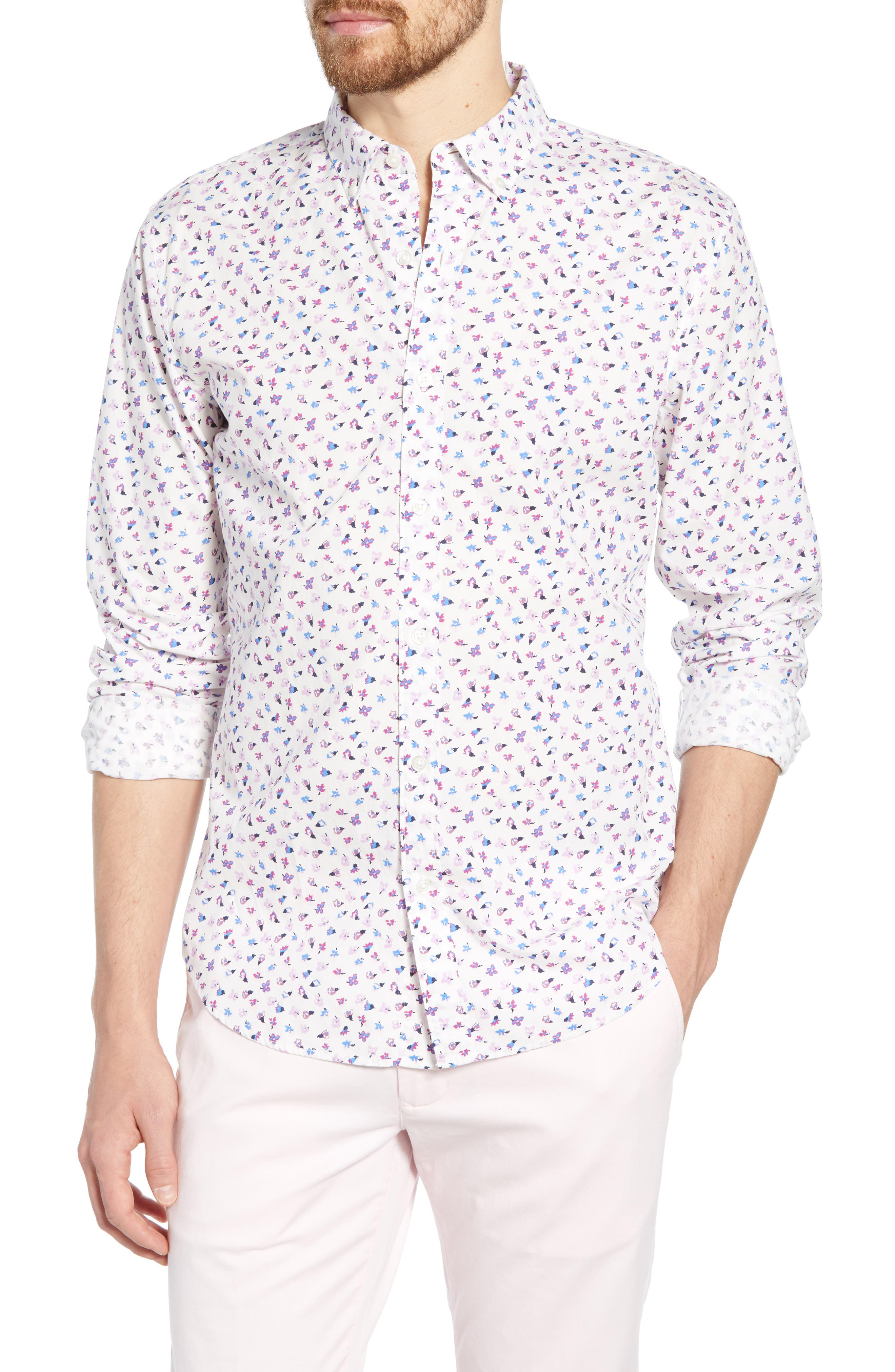 ,                             Washed Button Down Slim Fit Floral Print Sport Shirt,                             Main thumbnail 1, color,                             SMALL FLOWER SCATTER
