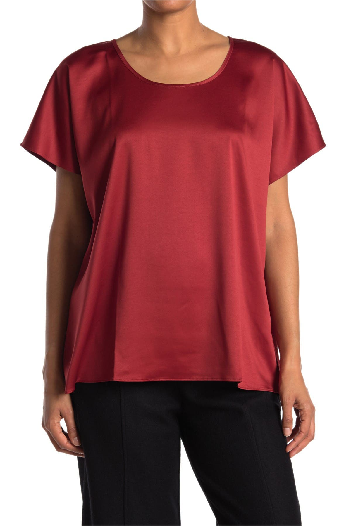 Image of Eileen Fisher Scoop Neck Short Sleeve Boxy Satin Top