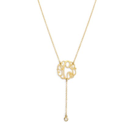 Argento Vivo Personalized Three Initial Y-Necklace