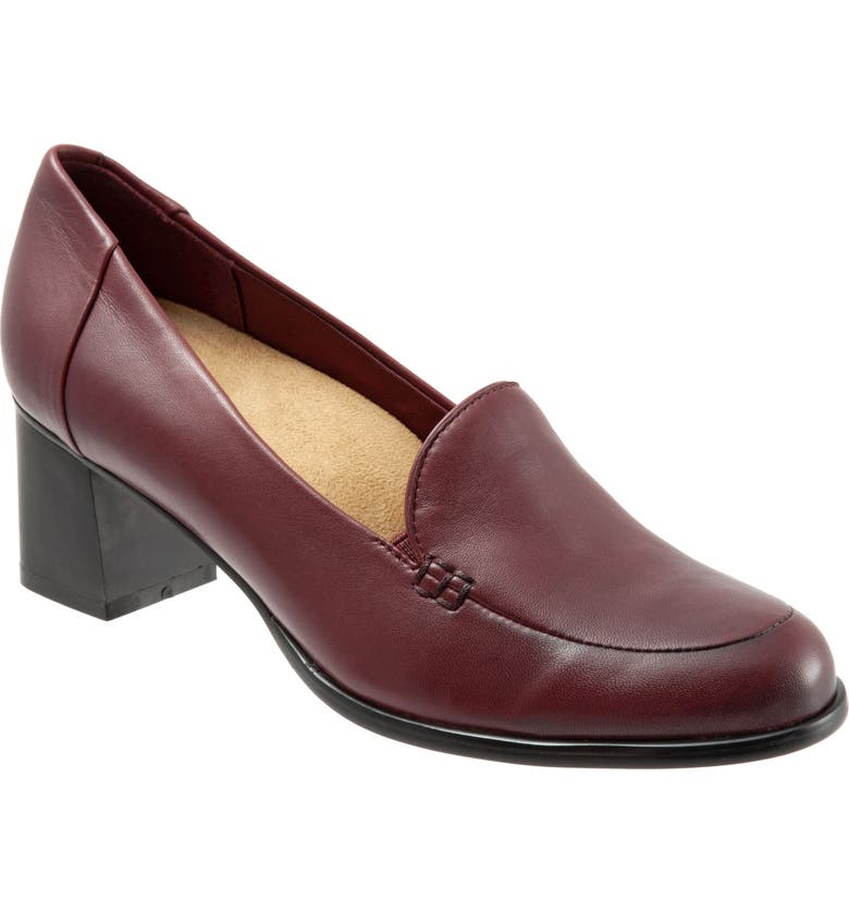 TROTTERS Quincy Loafer Pump, Main, color, DARK RED LEATHER