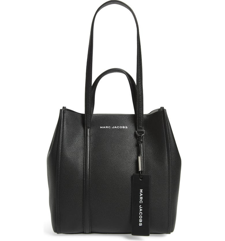 THE MARC JACOBS The Tag 27 Leather Tote, Main, color, BLACK