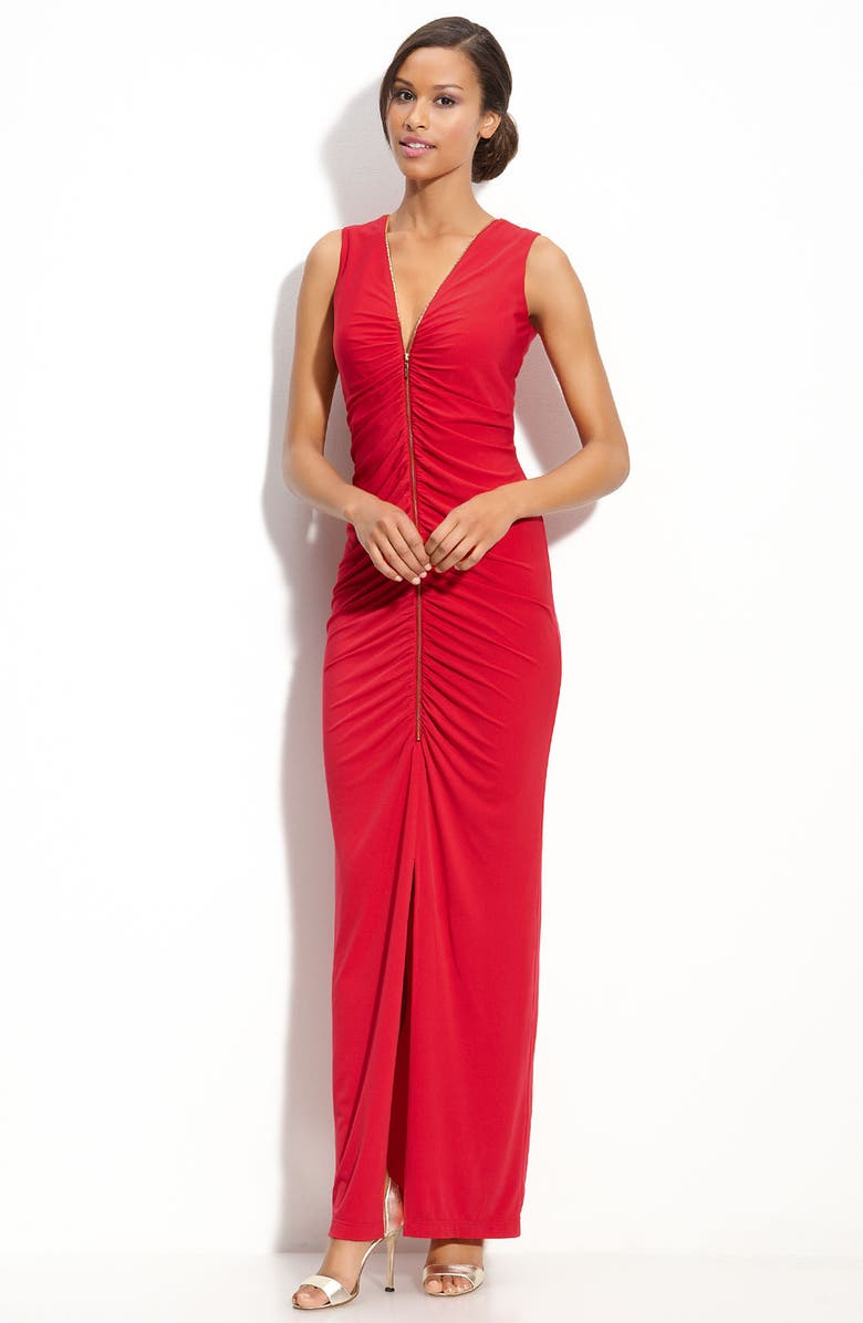 CALVIN KLEIN Exposed Zip Ruched Jersey Gown, Main, color, 610