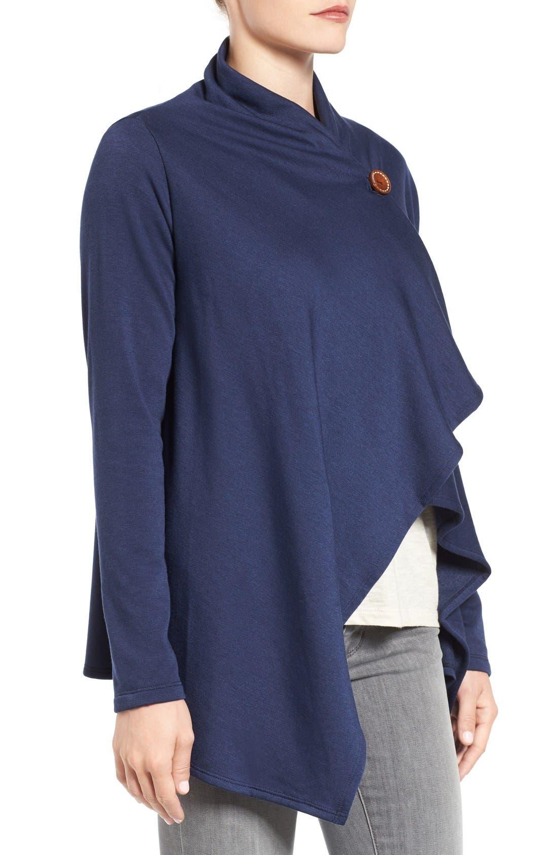 ,                             One-Button Fleece Wrap Cardigan,                             Alternate thumbnail 131, color,                             421