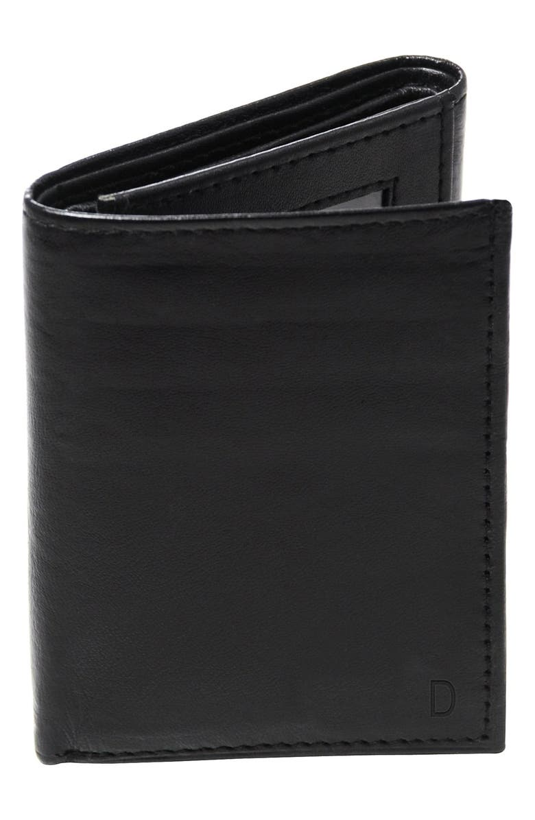 CATHY'S CONCEPTS 'Oxford' Monogram Leather Trifold Wallet, Main, color, BLACK - D