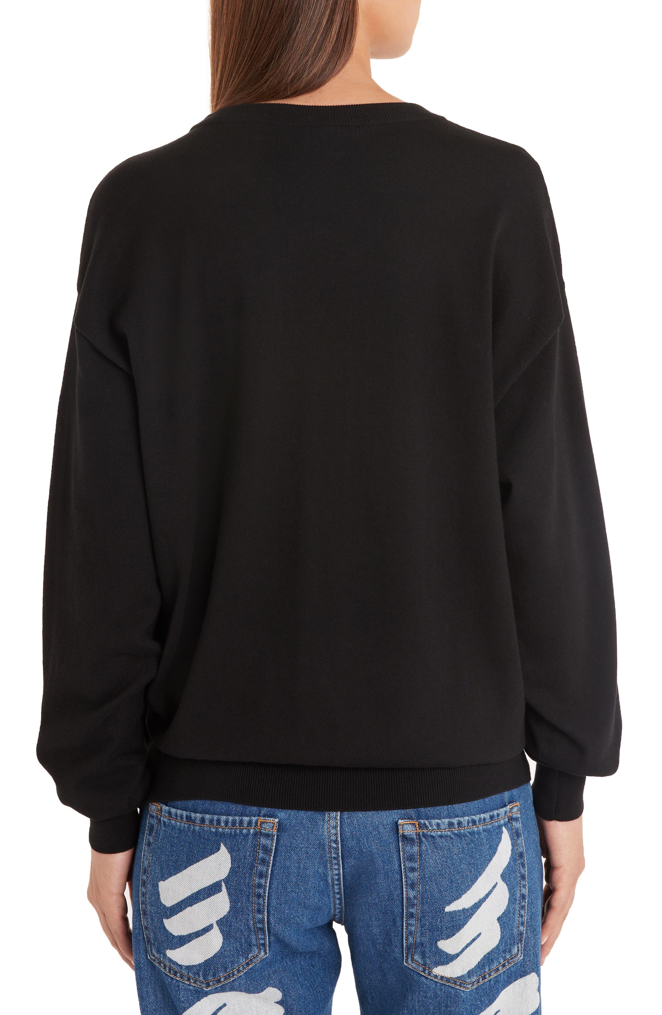 ,                             Embellished Teddy Sweater,                             Alternate thumbnail 2, color,                             BLACK