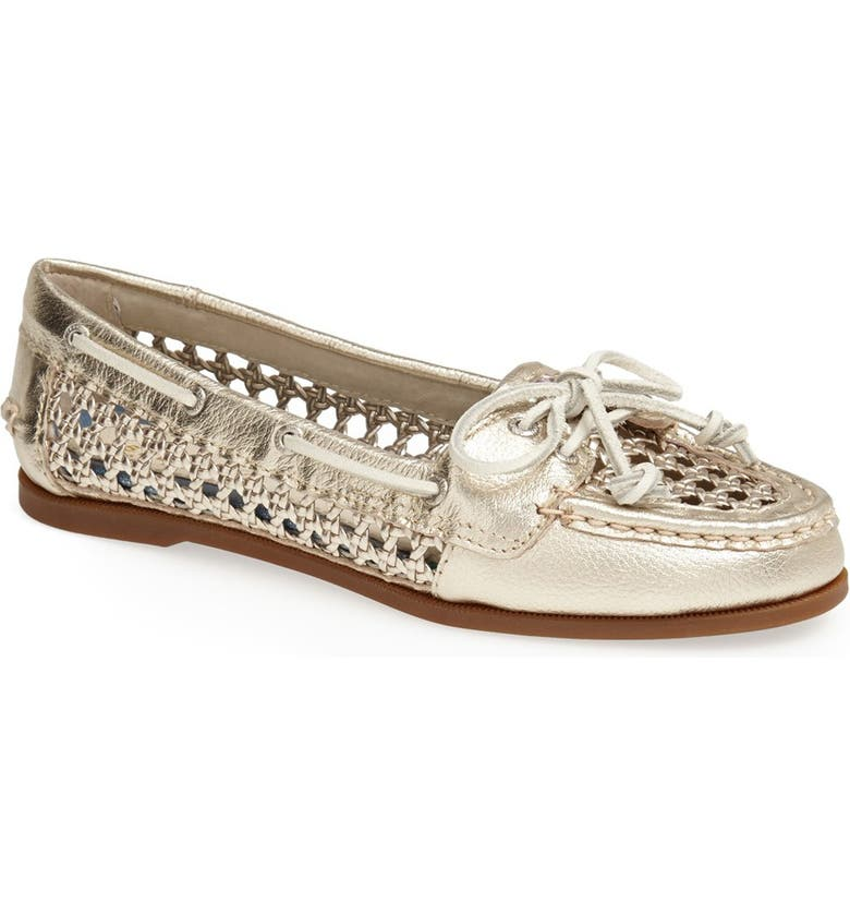SPERRY Top-Sider<sup>®</sup> 'Audrey' Open Weave Leather Boat Shoe, Main, color, 020