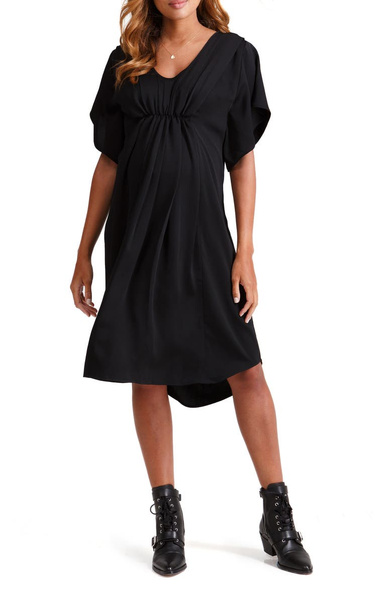 INGRID & ISABEL<SUP>®</SUP> Pleat Front Maternity/Nursing Dress, Main, color, JET BLACK