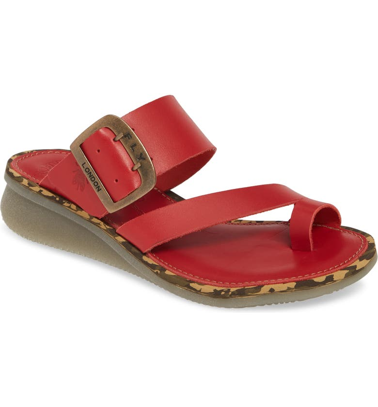 FLY LONDON Cops Wedge Slide Sandal, Main, color, LIPSTICK RED BROOKLYN LEATHER