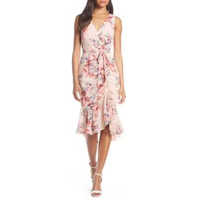 Petite Eliza J Floral Ruched Chiffon Faux Wrap Dress, Pink