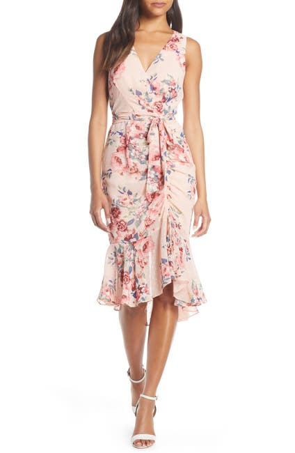 Image of Eliza J Floral Ruched Chiffon Faux Wrap Dress