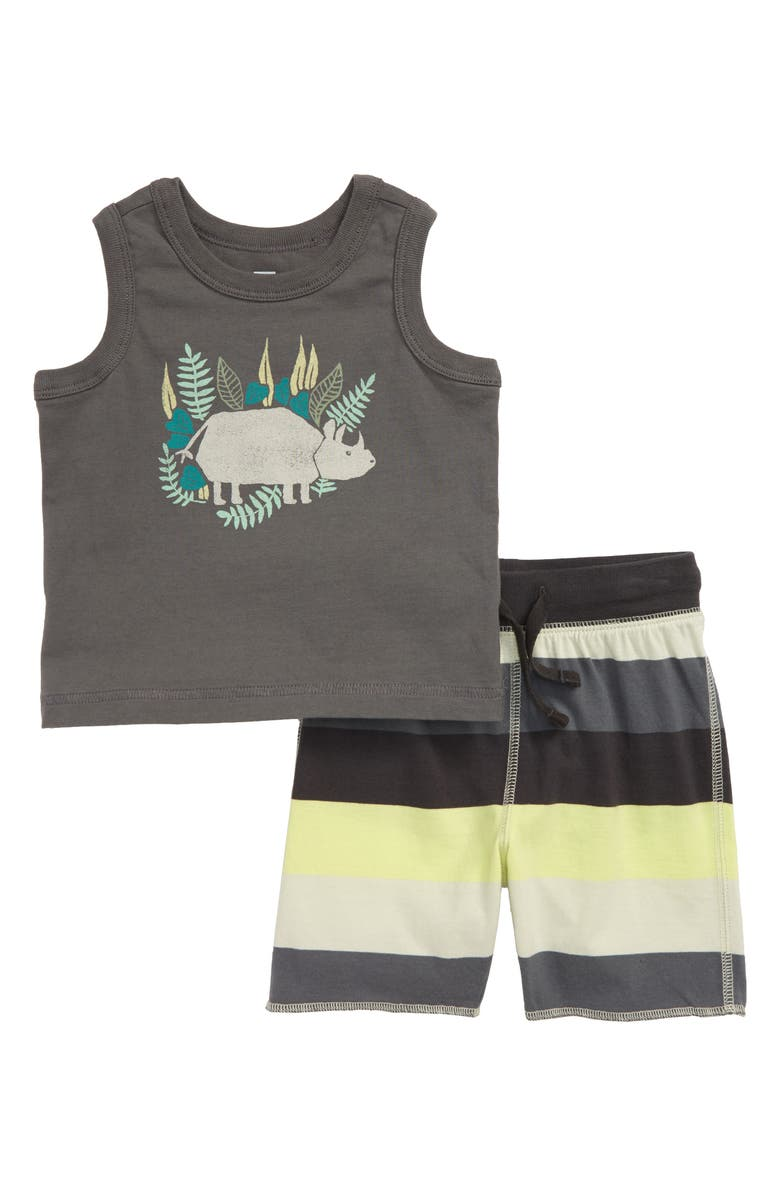 TEA COLLECTION Rhino Graphic Tank & Shorts Set, Main, color, THUNDER
