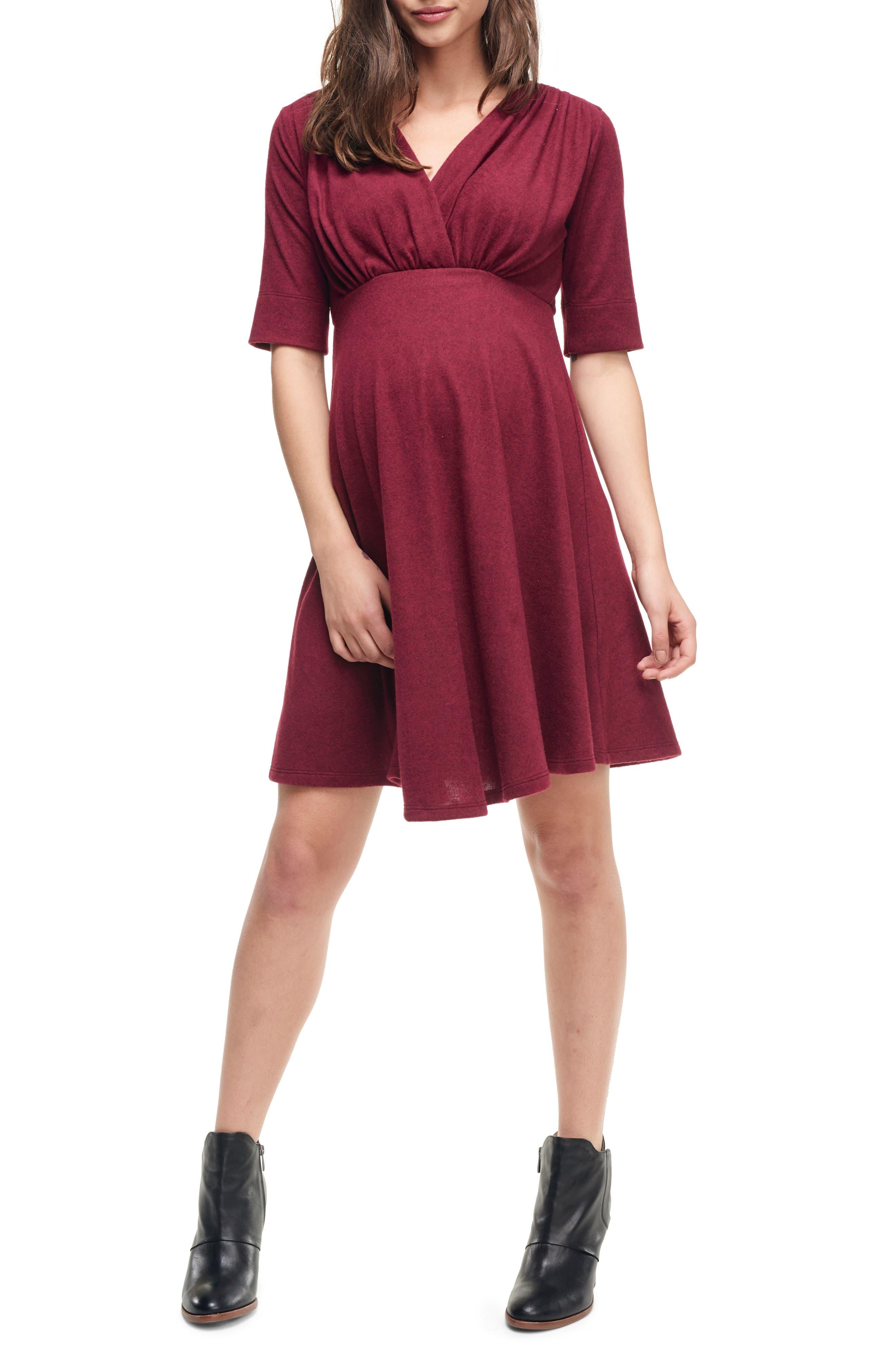 Maternal America Empire Waist Stretch Maternity Dress, Burgundy