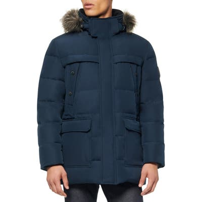 Marc New York Pembroke Faux Fur Trim Down & Feather Fill Quilted Coat, Blue