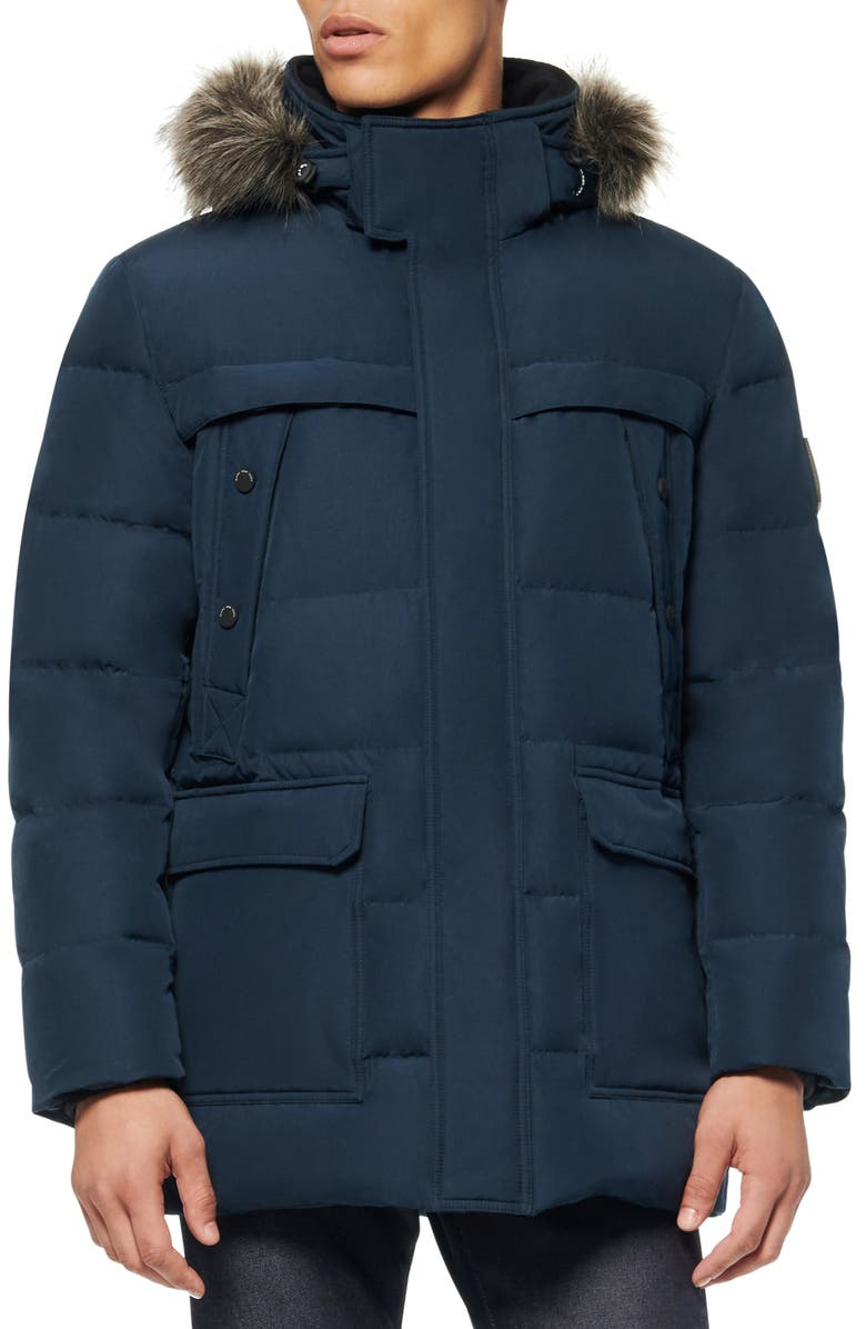 MARC NEW YORK Pembroke Faux Fur Trim Down & Feather Fill Quilted Coat, Main, color, INK