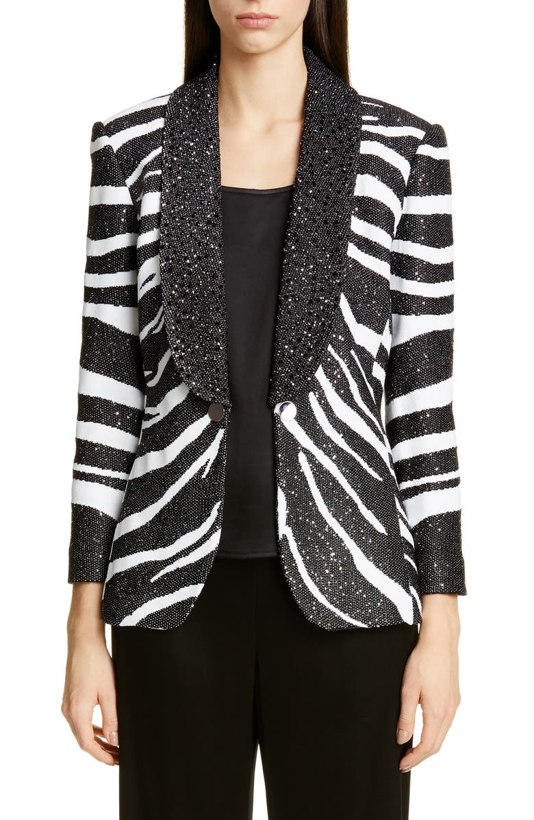 ST. JOHN COLLECTION Sequin Zebra Jacquard Knit Jacket, Main, color, CAVIAR/ WHITE