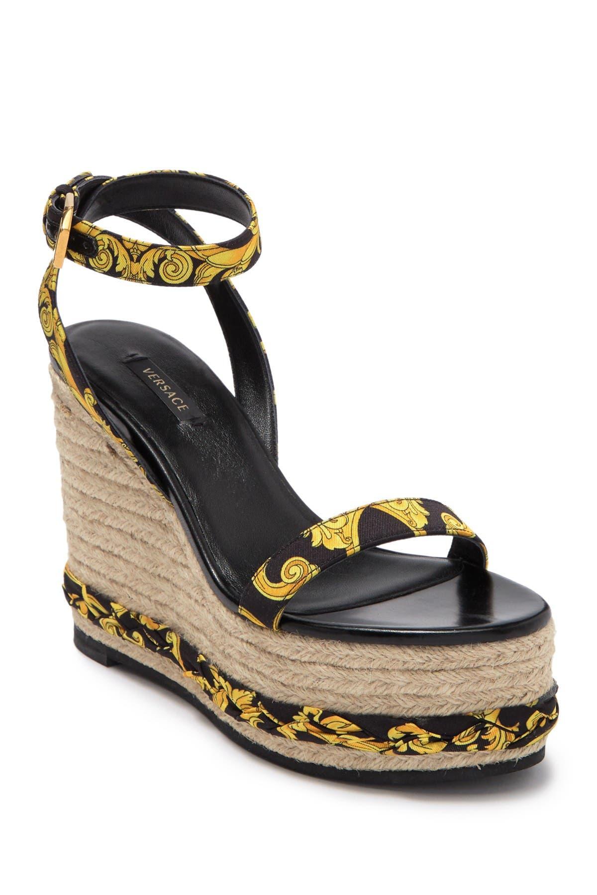 Baroque Leather Espadrille Wedge Heel