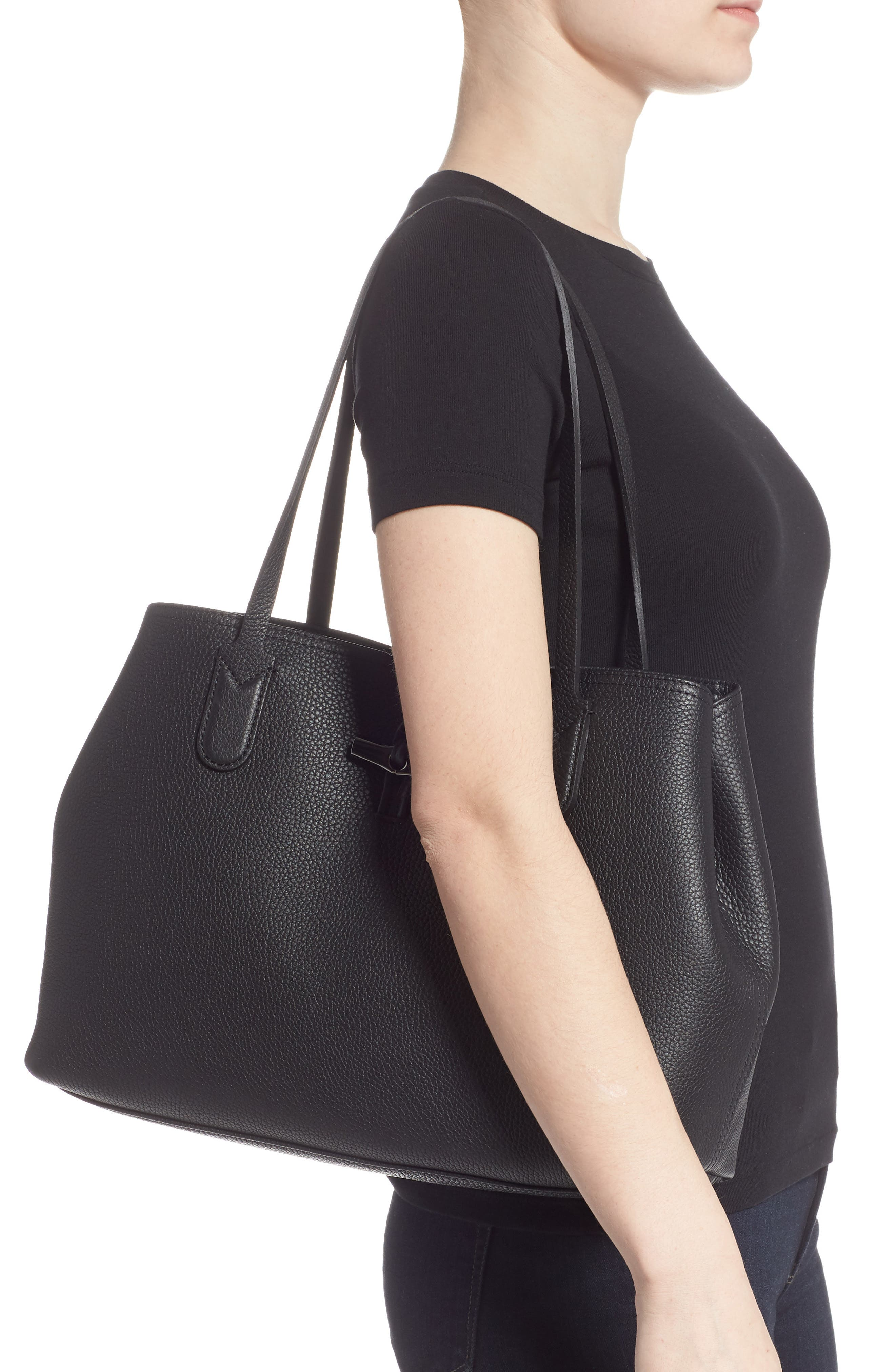,                             Roseau Essential Mid Leather Tote,                             Alternate thumbnail 4, color,                             BLACK