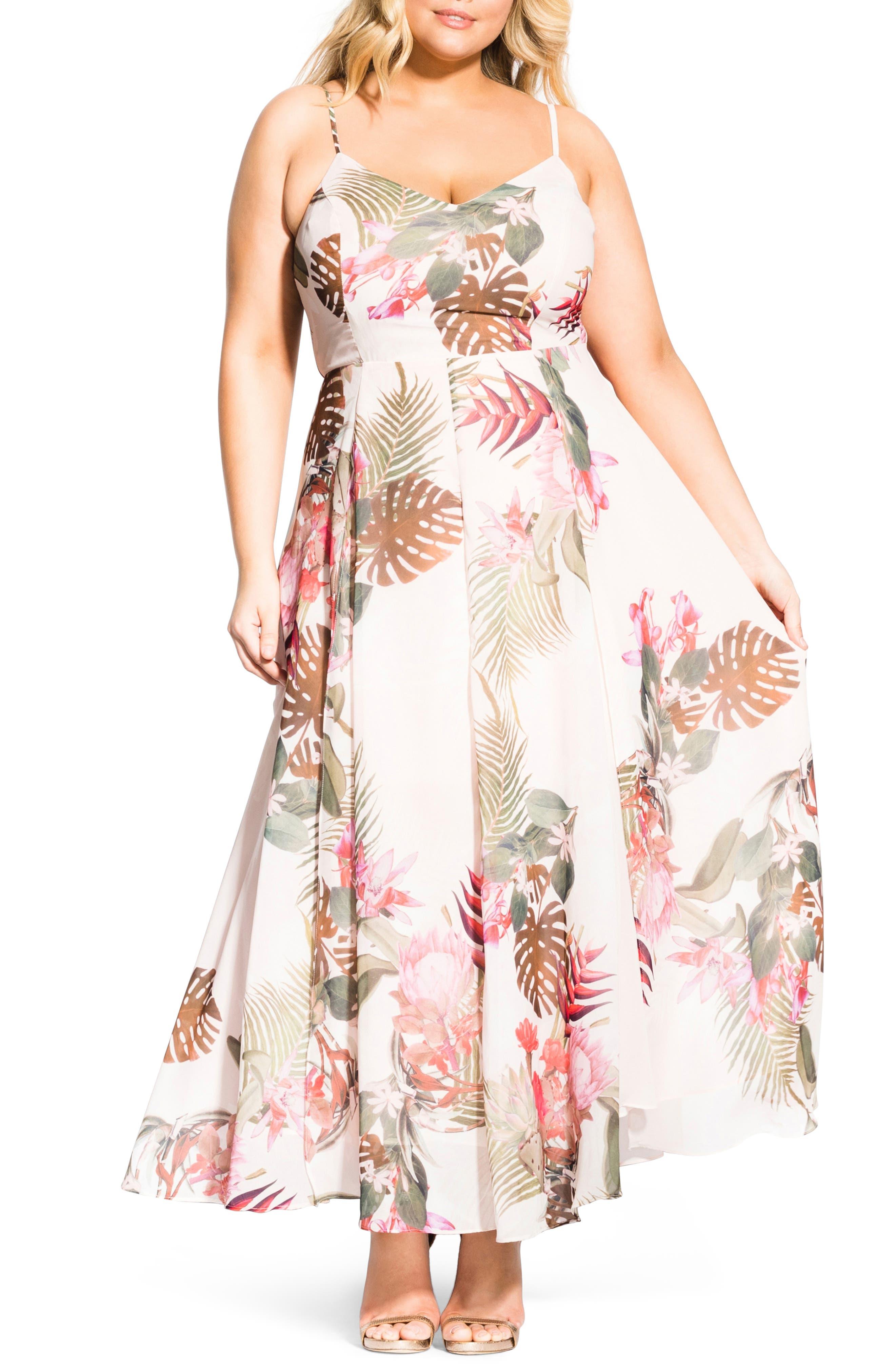Plus Size City Chic Paradise Palm Maxi Dress, White