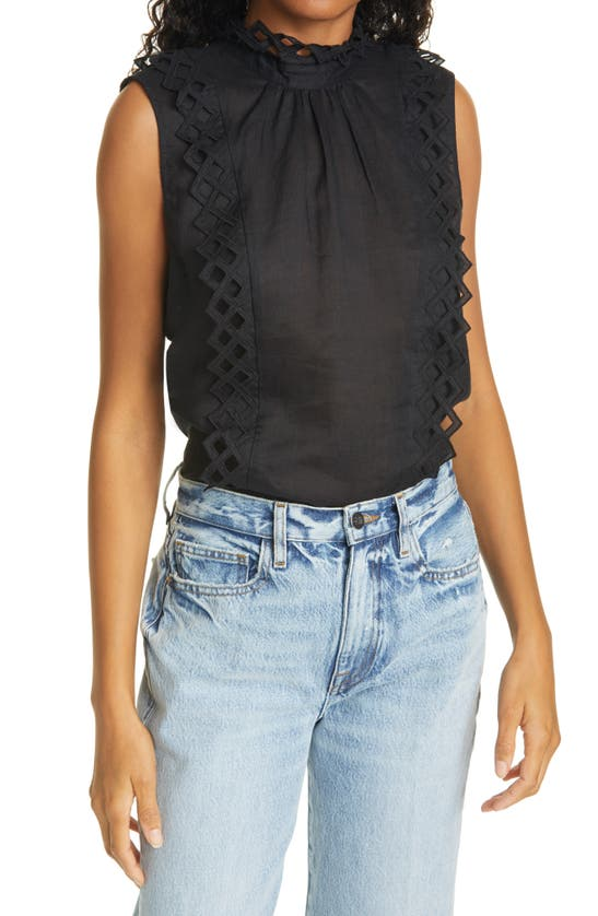 Frame Tops EMBROIDERED HIGH NECK SLEEVELESS TOP