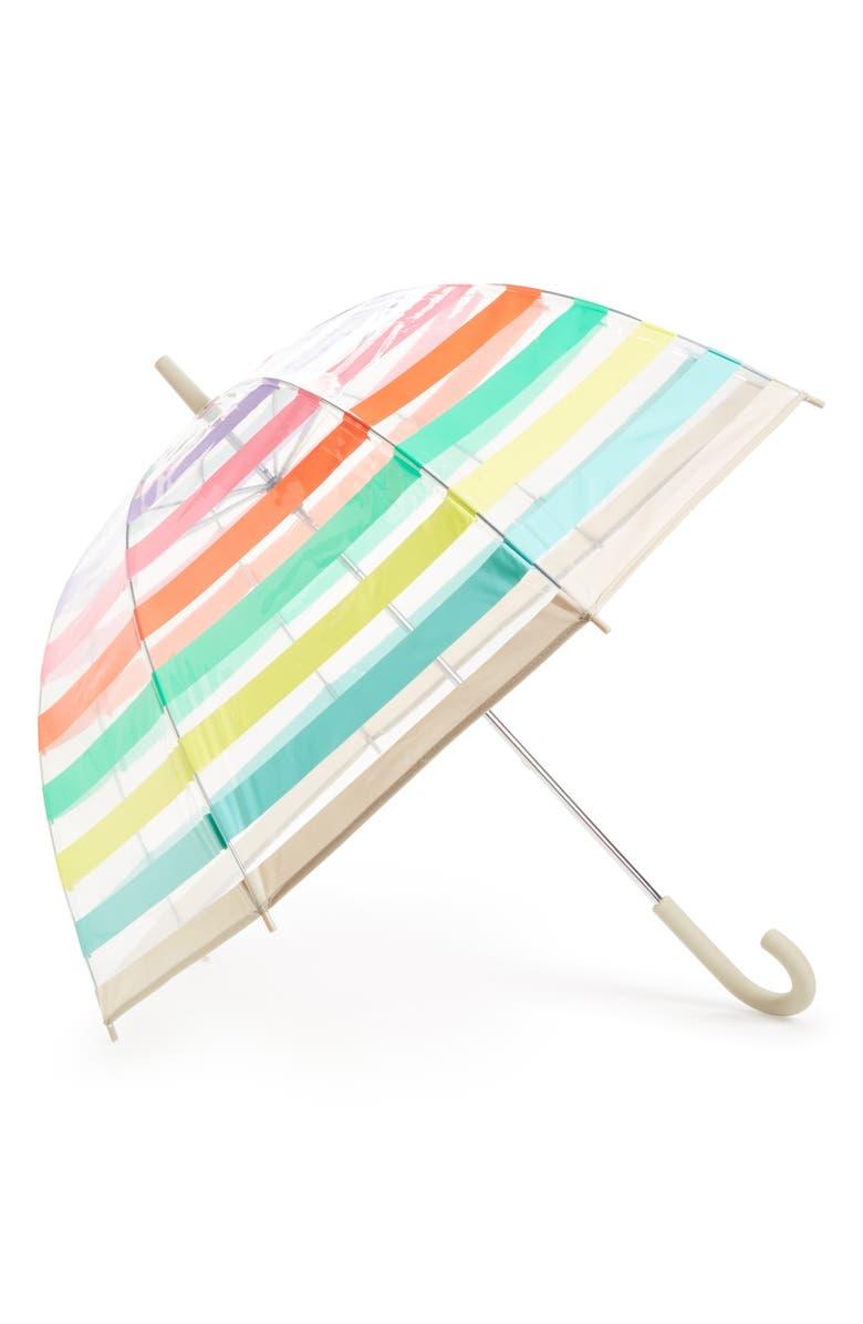 KATE SPADE NEW YORK clear stripe umbrella, Main, color, 300