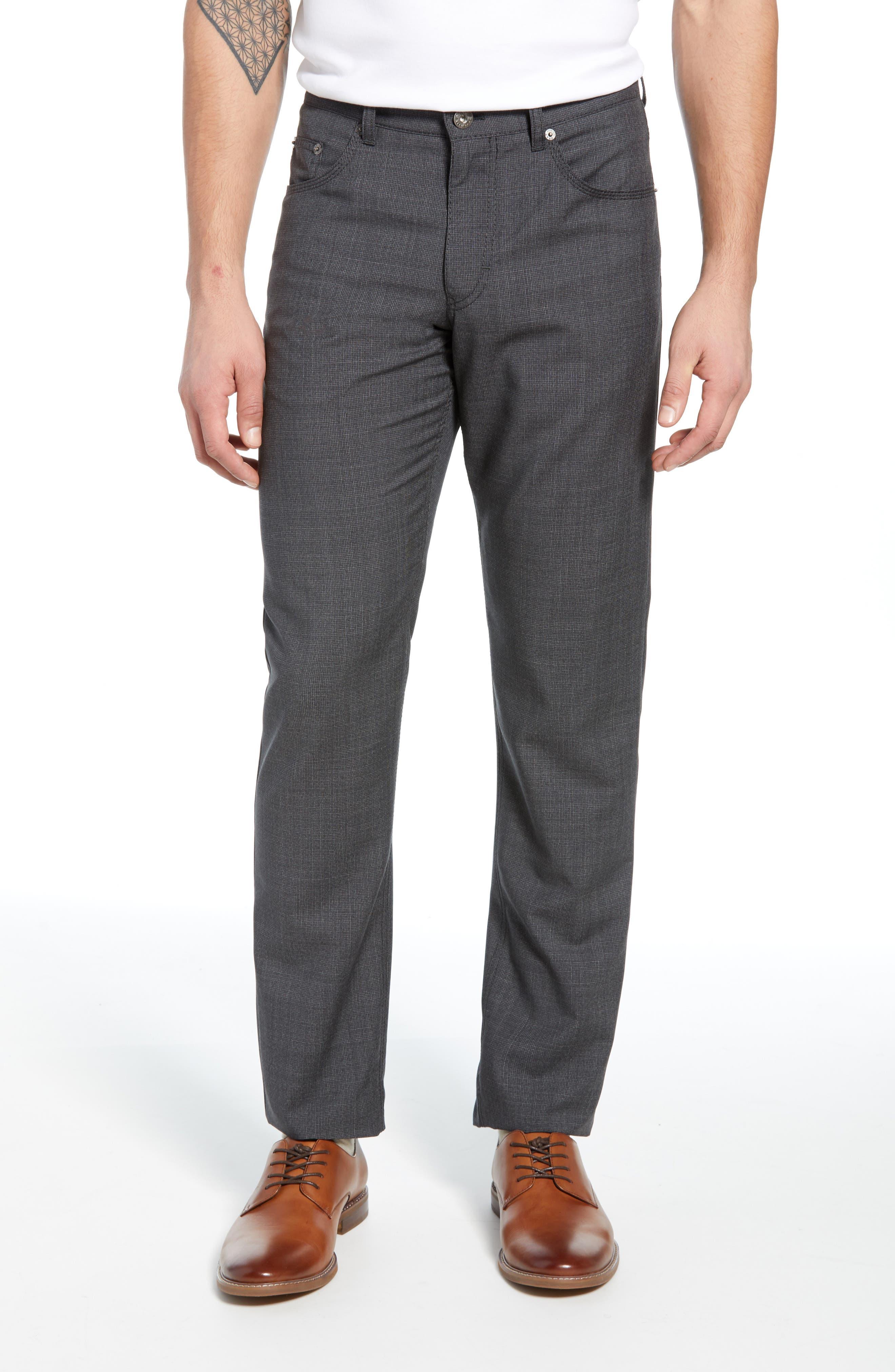 Cooper Five Pocket Check Wool Trousers, Main, color, DARK GREY