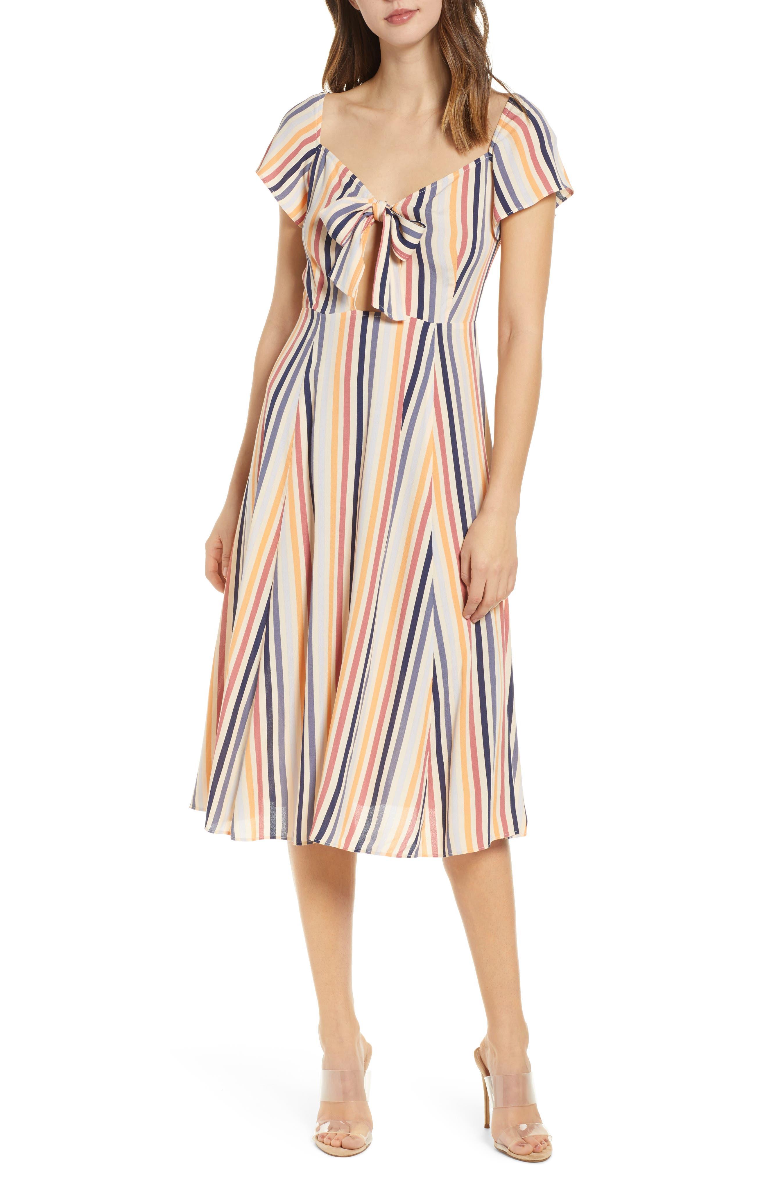 Leith Tie Front Midi Dress, Beige