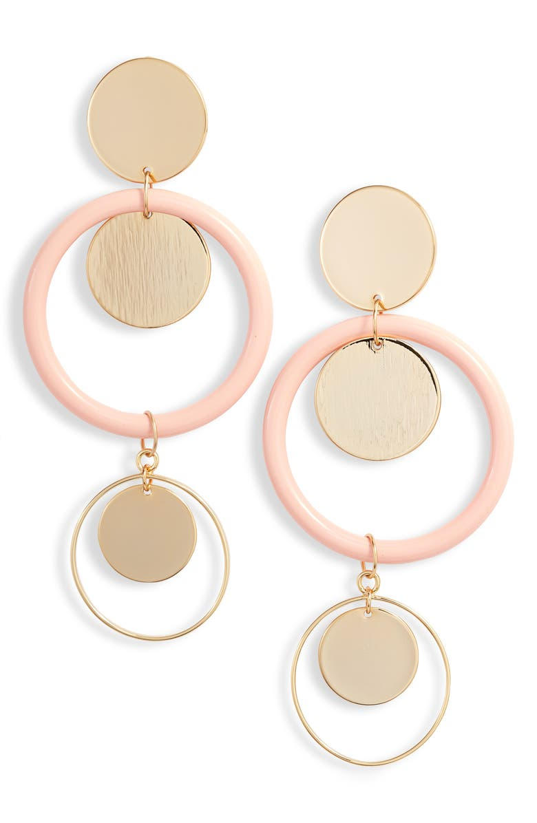 ETTIKA Circle Geo Drop Earrings, Main, color, LIGHT PINK/ GOLD